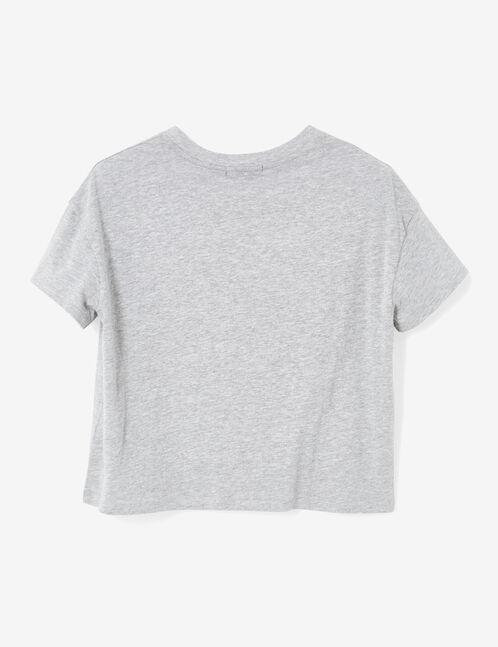 crop top imprimé gris chiné