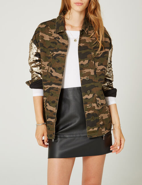 veste avec manches sequins camouflage kaki