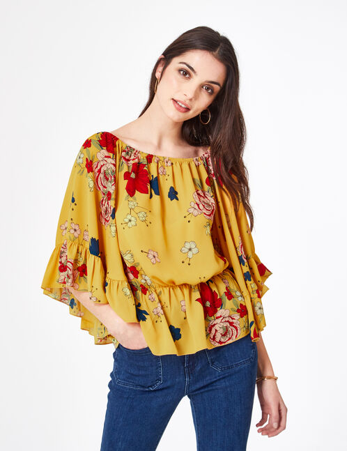 Loose ochre floral blouse