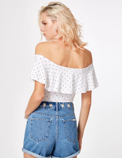 White polka dot bodysuit