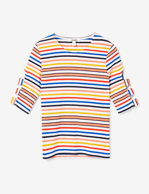 Multicolour striped T-shirt with open sleeve detail