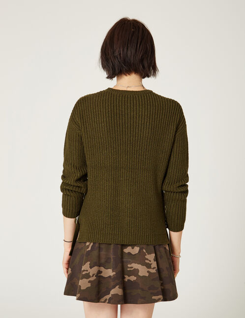 Khaki jumper with buckle detail