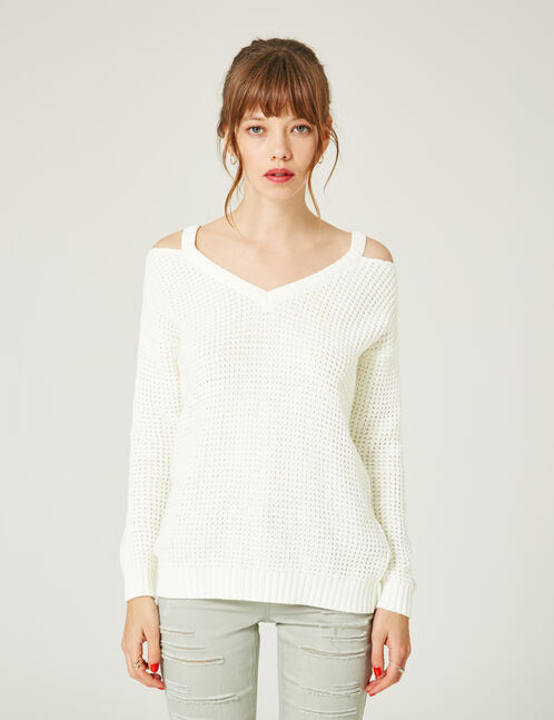Cream jumper with cut-outs at neck