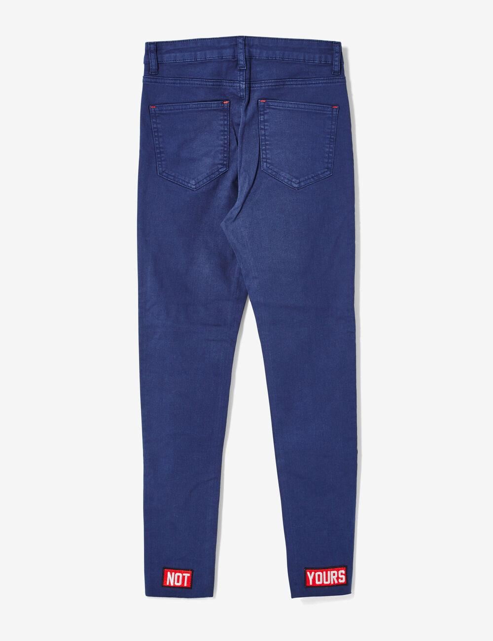 Pantalon avec broderies bleu marine femme jennyfer - Quelle couleur avec pantalon bleu marine ...