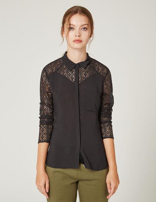 chemise bi-matière noire
