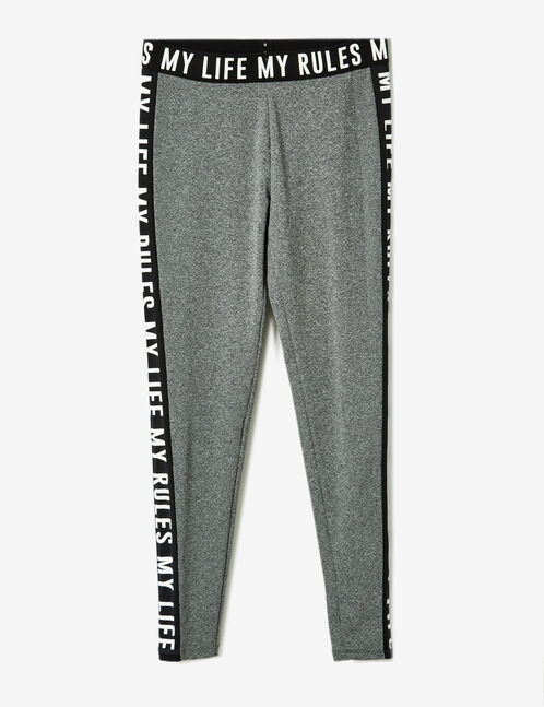 Grey marl fitness leggings with text design detail