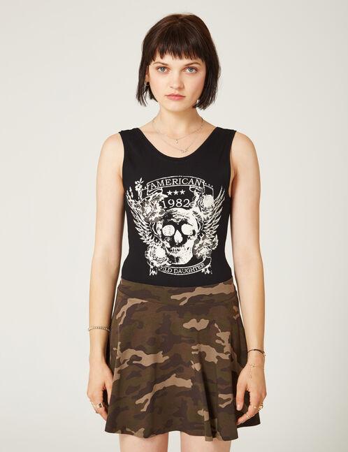 Black skull print bodysuit