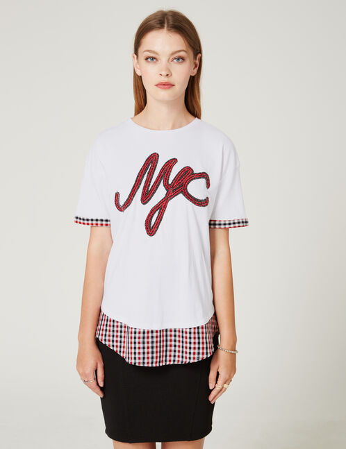 White T-shirt with gingham panel detail