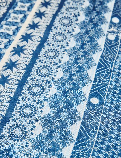 foulard imprimé éthnique bleu marine