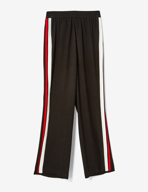 Black loose-fit trousers with stripe detail