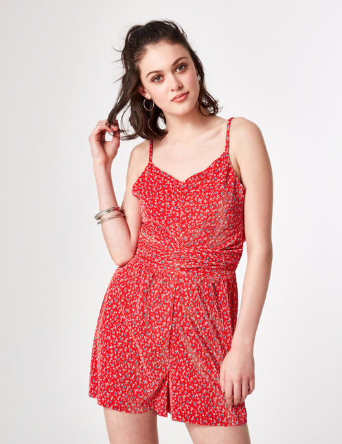 Red floral pleated playsuit