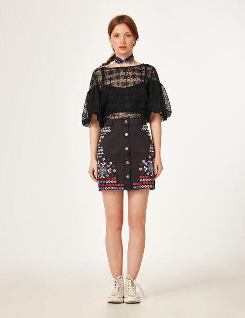 jupe trapèze avec broderies noire
