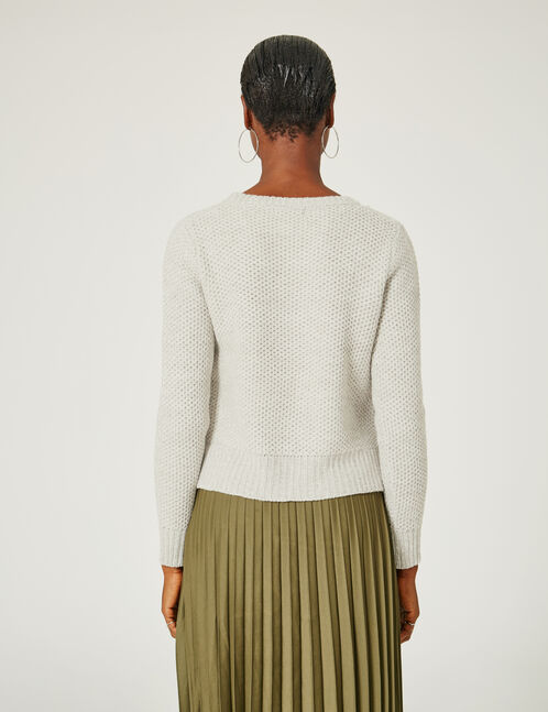 Grey textured jumper with lacing detail