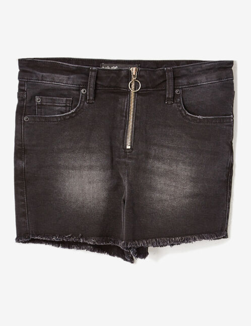 short en jean zippé noir