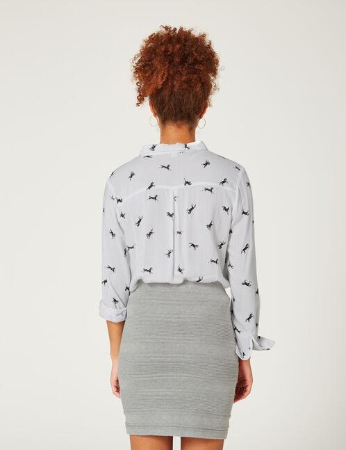 Grey marl textured tube skirt