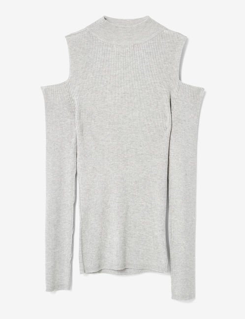 pull décolleté v gris chiné
