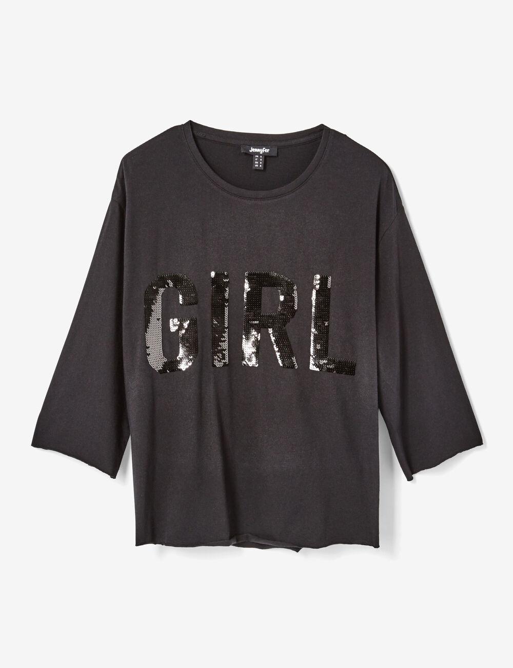 tee shirt avec sequins noir femme jennyfer. Black Bedroom Furniture Sets. Home Design Ideas