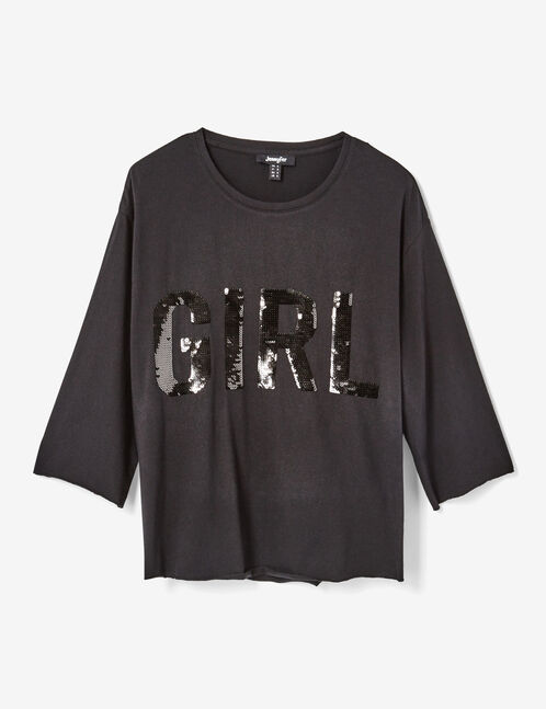Black T-shirt with sequin detail