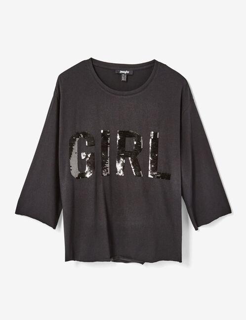 tee-shirt avec sequins noir