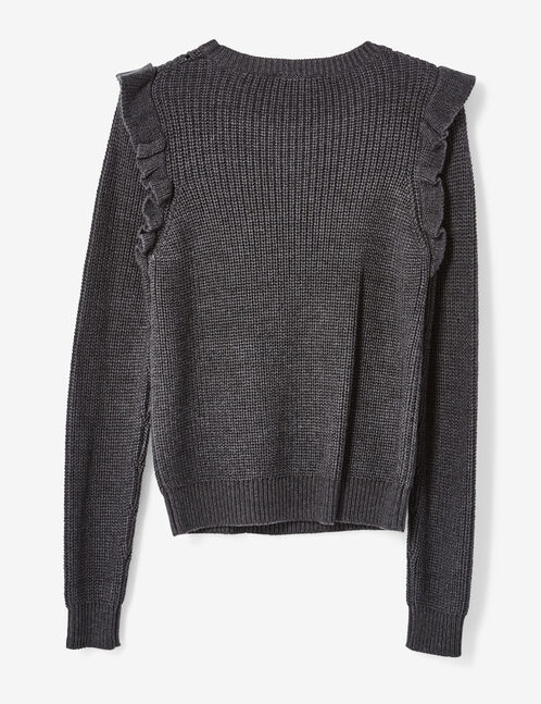 Charcoal grey jumper with frill detail
