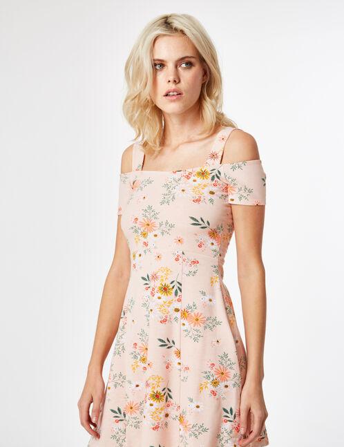 Light pink floral skater dress