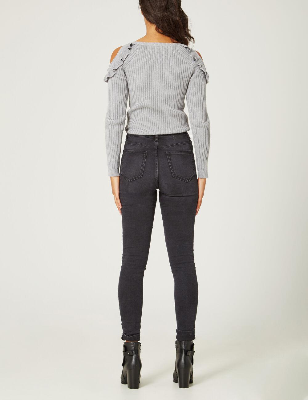 jean super skinny taille haute noir femme jennyfer. Black Bedroom Furniture Sets. Home Design Ideas