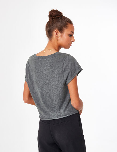 Charcoal grey marl crop top with text design detail