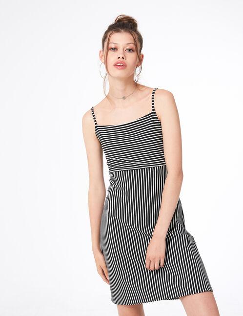 mini-robe texturée blanche et noire