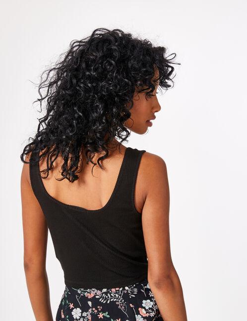 Black crop top with zip detail