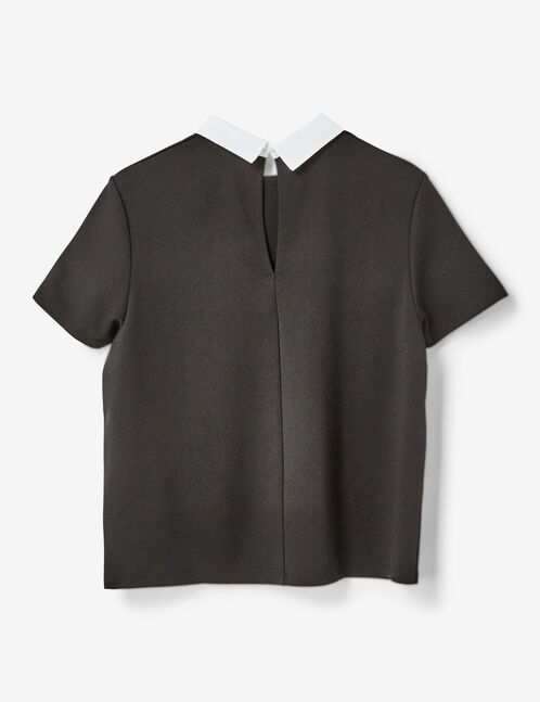 tee-shirt col blanc noir