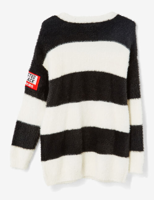 Long cream and black striped jumper