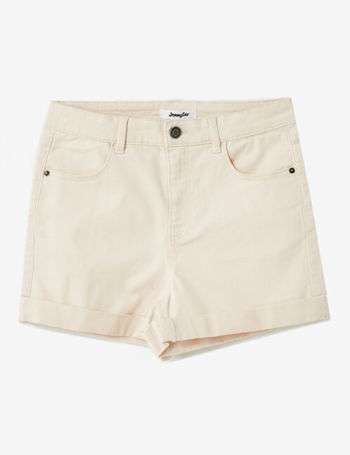 Light pink roll-up shorts