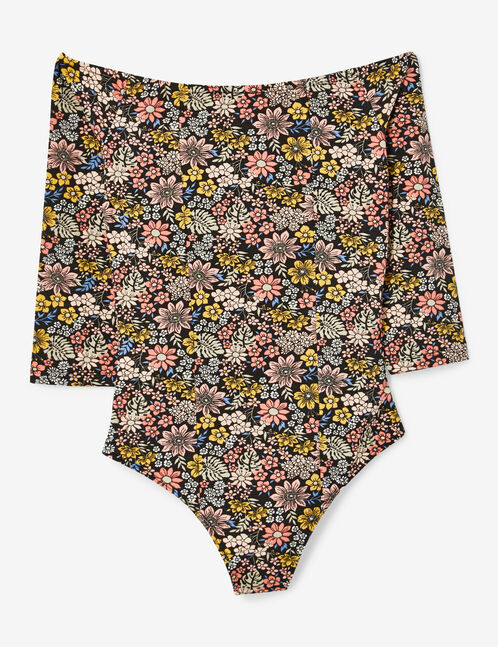 Black and pink floral print bodysuit