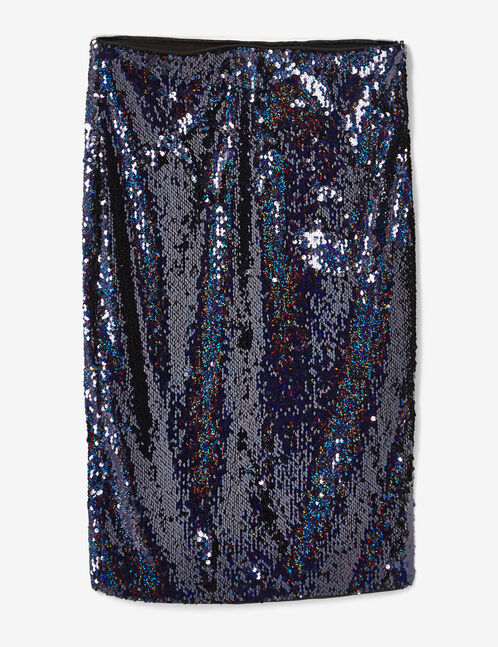 Midnight blue sequined pencil skirt