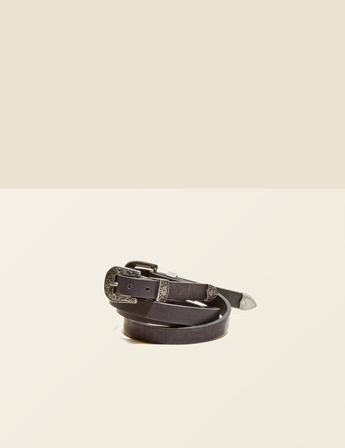 Black double-buckled belt