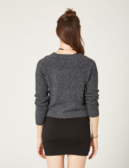 Charcoal grey marl jumper with embroidered floral detail