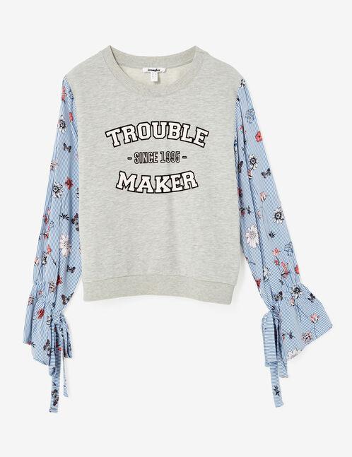Grey marl mixed fabric sweatshirt