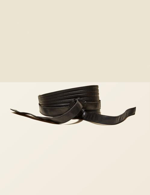 Wide black tie-fastening belt