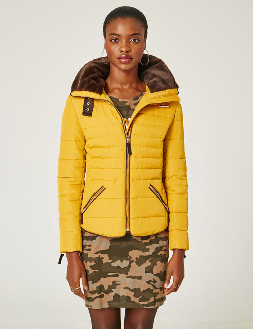 Ochre padded jacket with zip detail