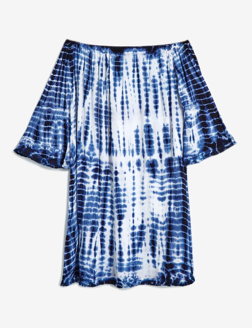 robe paules d nud es tie dye blanc et bleu femme jennyfer. Black Bedroom Furniture Sets. Home Design Ideas