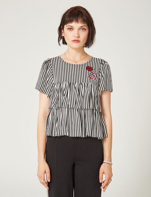 Black and white striped blouse with frill detail