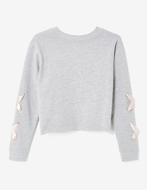 Grey marl sweatshirt with lacing detail
