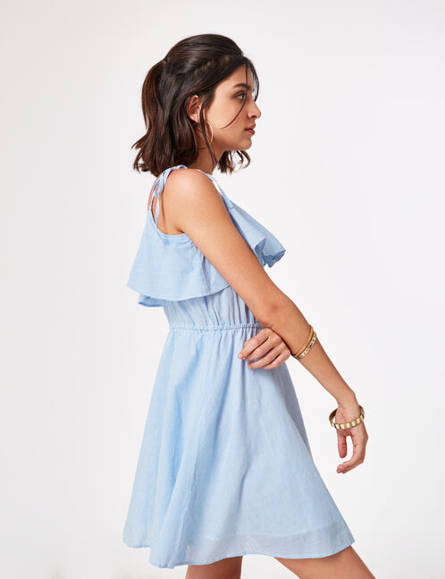 Blue and cream striped dress with frill detail