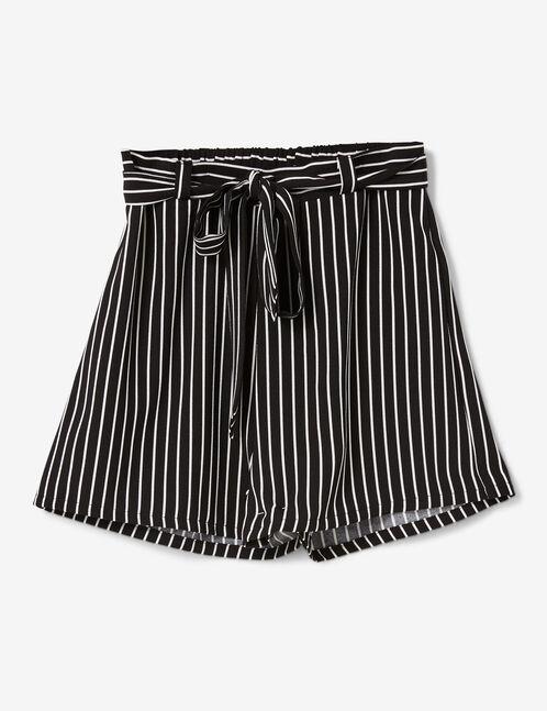 Black striped draped shorts