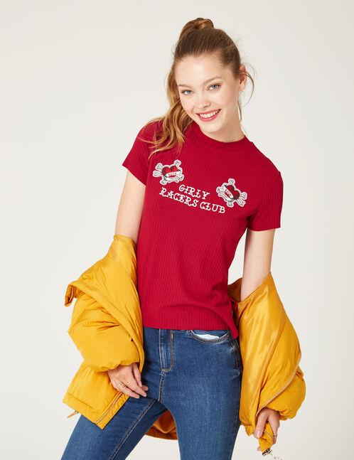 tee-shirt patchs coeurs bordeaux
