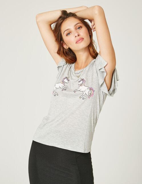 tee-shirt licornes gris chiné