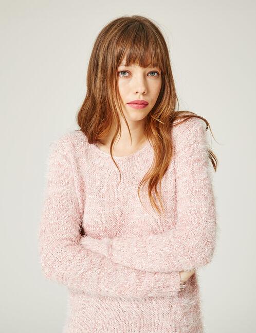 Pink mohair-effect jumper