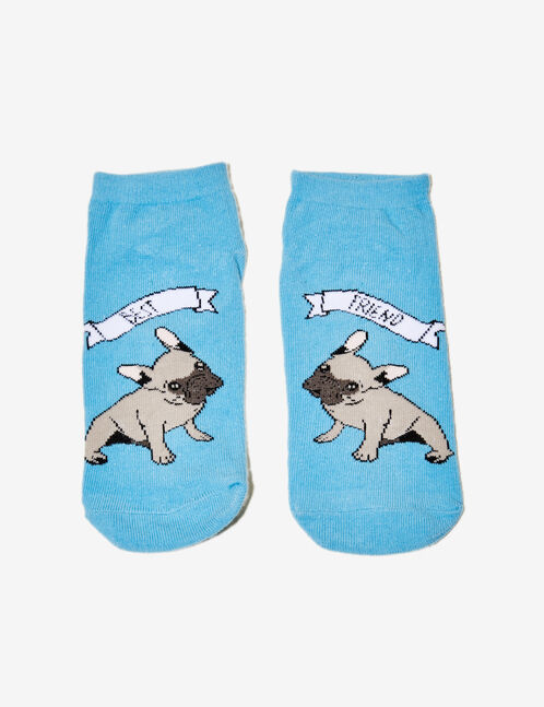 Blue socks with text design detail