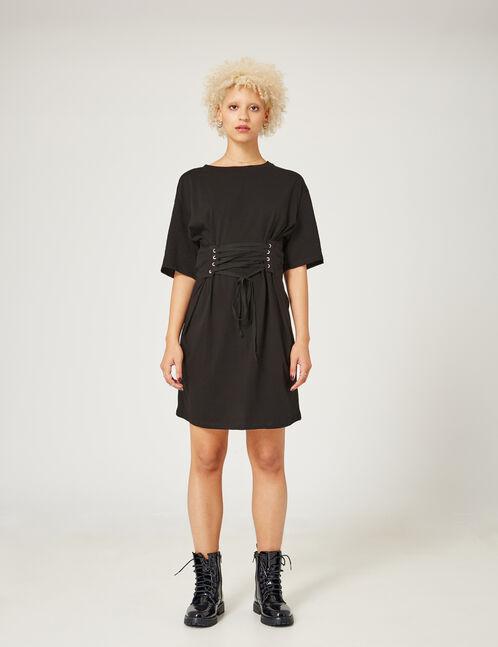 Black dress with corset belt detail