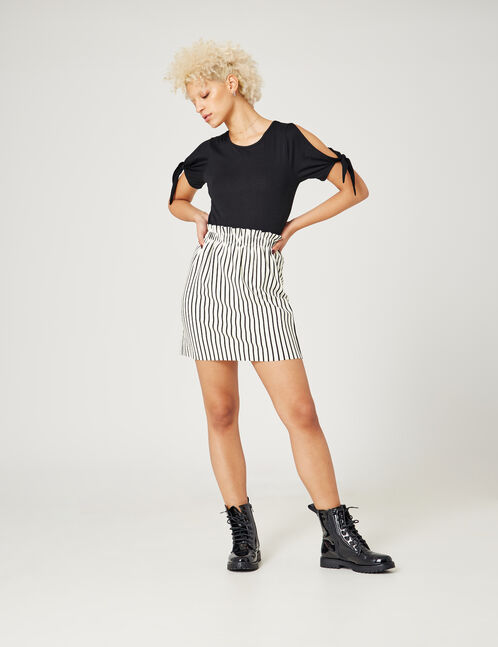 Black and cream striped ruched skirt